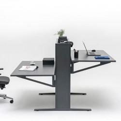 Double operating desk with adjustable worktop - Flow
