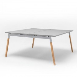 Double operating desk with wooden legs - Ogi W