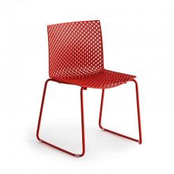 Sedia in metallo con gambe a slitta - Fuller