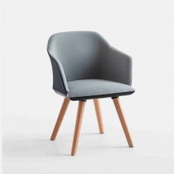 Sedia imbottita gambe in legno - Manaa