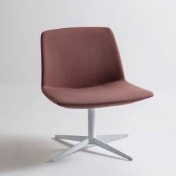 Sedia lounge con seduta in tessuto/pelle - Kanvas