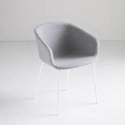 Sedia imbottita in tessuto/pelle - Basket