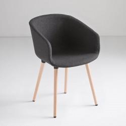 Sedia imbottita con gambe in legno - Basket